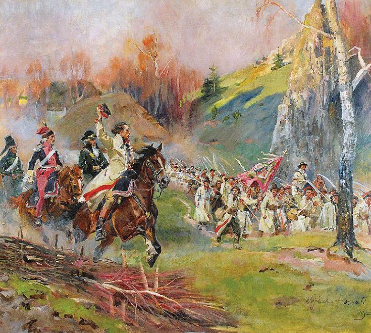 Wojciech KOSSAK (1857-1942)  Kościuszko prowadzi kosynierów do ataku - Kościuszko pod Racławicami, 1924 olej, płótno; 116,5 x 130 cm; sygn. p. d.: Wojciech Kossak/ 1924