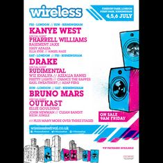 Wireless Festival 2014  A positively gargantuan line-up including Kanye West, Drake, Pharrell Williams and Bruno Mars and Outkast grace the festival stage this year, one not to be missed!  Get your tickets here: http://www.ticketline.co.uk/wireless-festival