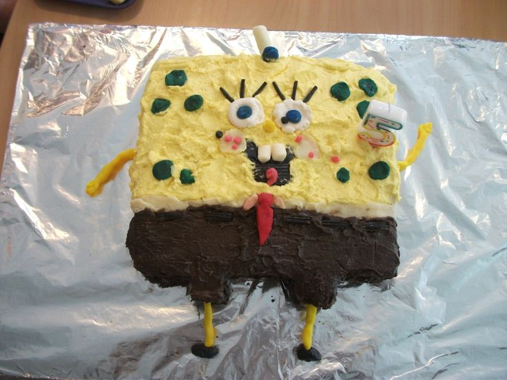 Spongebob squarepants cake I made for Ethan's last day at Daycare