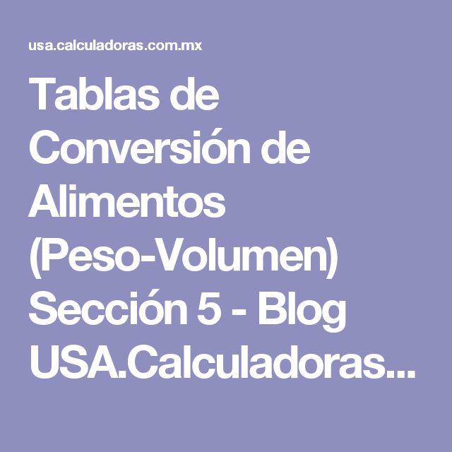 Tablas de Conversión de Alimentos (Peso-Volumen) Sección 5 - Blog USA.Calculadoras.com.mx