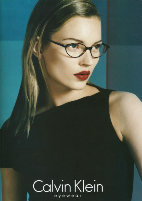 Calvin Klein ad, 1997. Timeless librarian sex appeal a la Kate. If I ever need glasses I want these