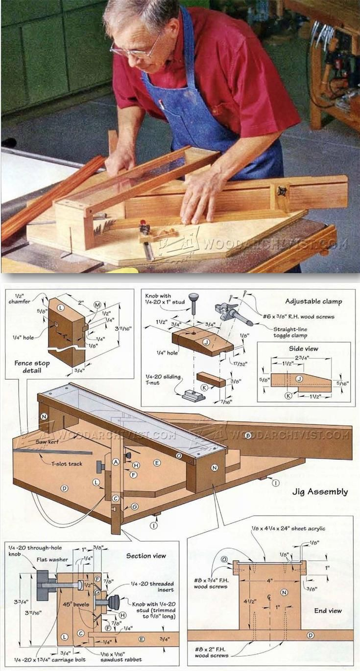 Table Saw Miter Jig Plans - Table Saw Tips, Jigs and Fixtures   WoodArchivist.com