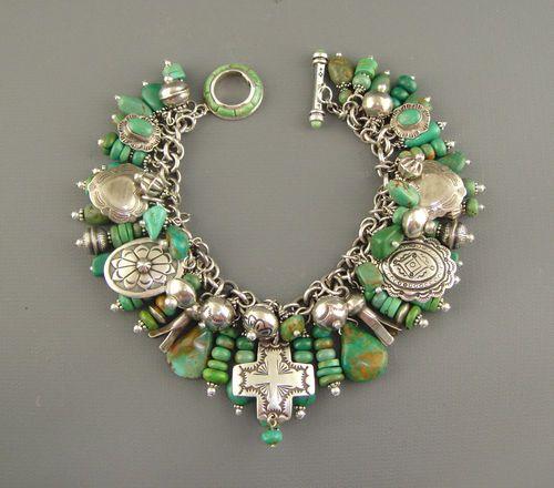 Vintage Navajo Green Turquoise Joan Slifka Cross Pendant