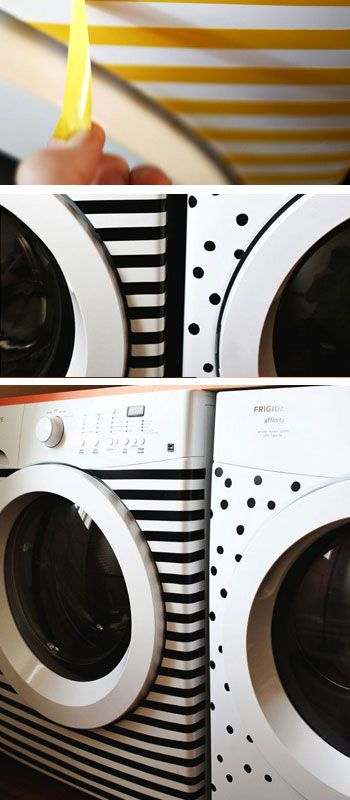 I like this! Stripes & Dots Washer & Dryer Makeover - DIY Home Decor Ideas on a Budget - Click for Tutorial