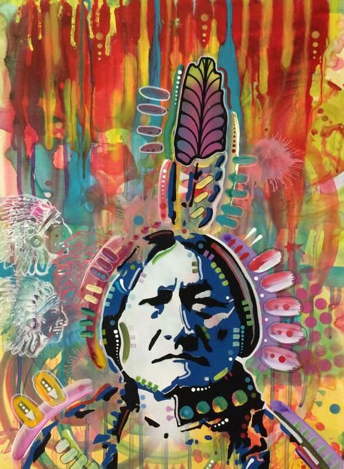 Sitting Bull 1.2 £1,205.00  By Dean Russo        Hand cut stencil, acrylic, spray paint and ink on paper        Measures 18 x 24''