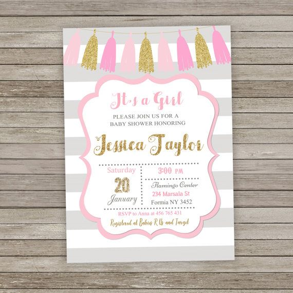 PINK AND GREY BABY SHOWER INVITATION PRINTABLE 4X6 or 5 x 7 DIGITAL FILE  Super Cute for a Special baby shower!  No physical items will be shipped to you.  ❤ Information and Check out  After the purchase, please send me the following information in Note to the seller:  - Name - Date - Party time - Address and Venue -RSVP Information - Any additional information, you would like to add  You will receive:  - 1 JPEG 5x 7 or 4x6 inches 1 PDF file with two invitations on it Print on 8.5 x 11…