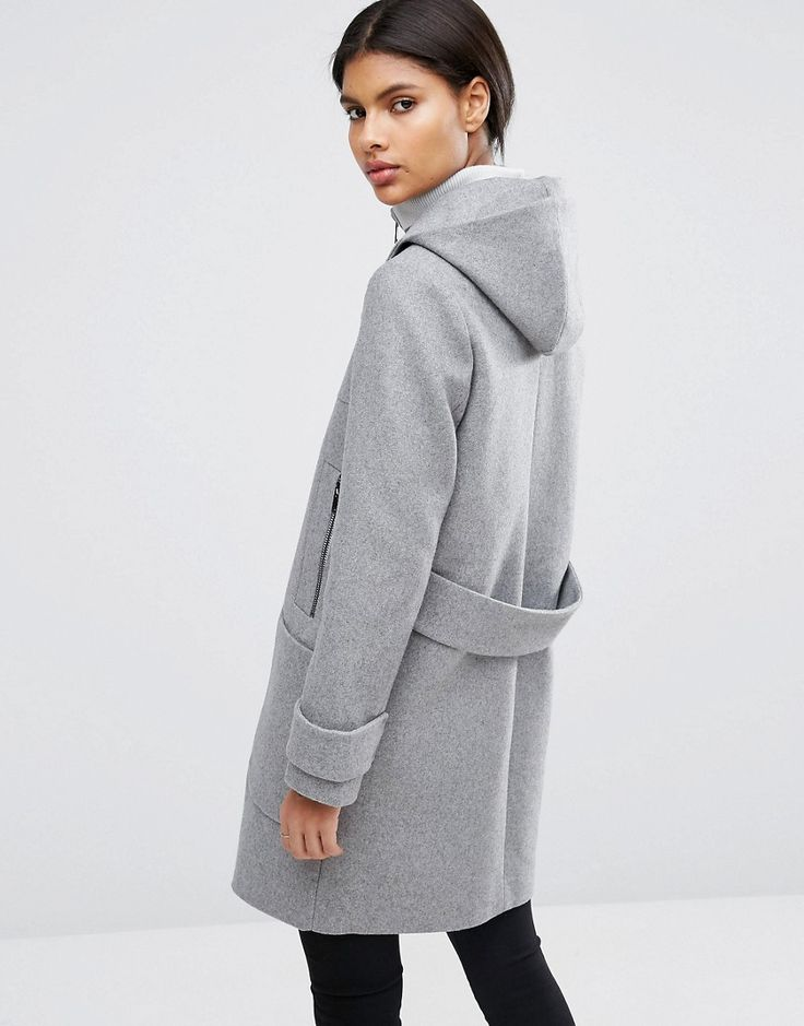 Image 2 of ASOS Wool Blend Coat with Tipped Rib and Funnel Neck