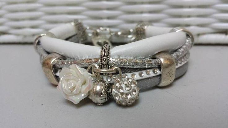 Armband leer wit zilver met strass | Armbanden leer | Trend-Sieraden