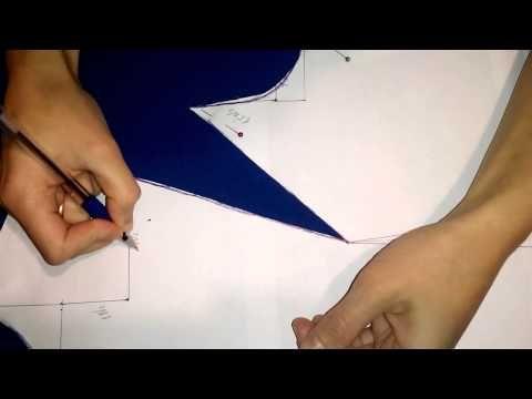 Нагрудная вытачка в выкройке по методу Любакс. The chest tuck on the pattern - YouTube