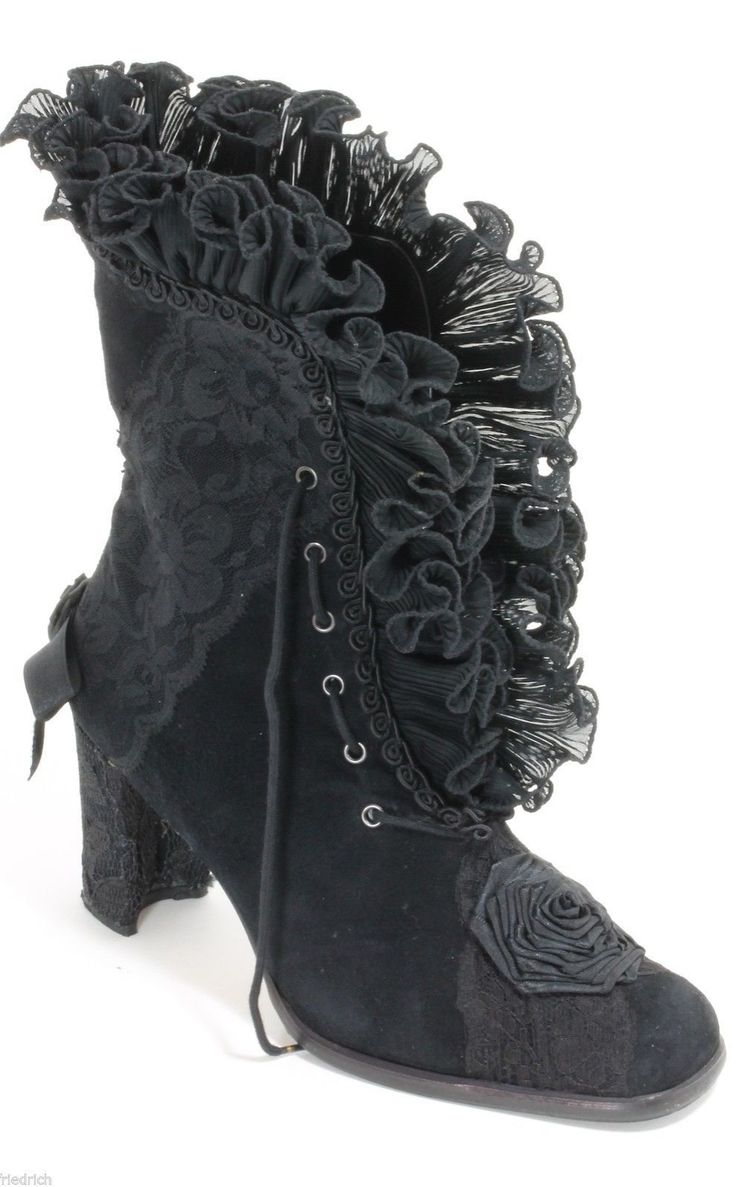 romantic black granny boots with ruffles & lace.....love <3