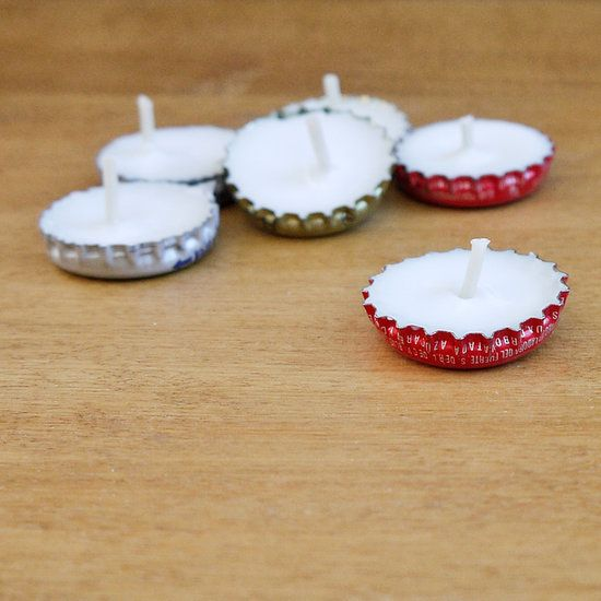 Bottle Cap Candles: Don't toss your bottle caps! Turn them into mini candles.  Photo: Sarah Lipoff