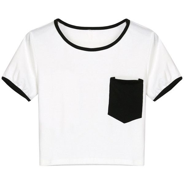 Black Chest Pocket Cropped Ringer Tee found on Polyvore featuring tops, t-shirts, jersey cotton t shirts, short jersey top, jersey crop top, jersey tee and cotton tee