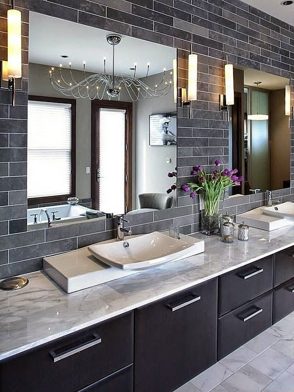 Contemporary bathroom with warm espresso brown cabinets - Grey black and white bathroom decor ...