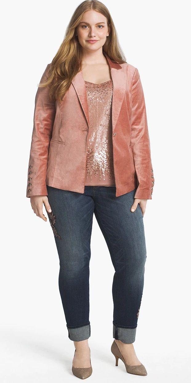 Plus Size Velvet Blazer #plussize #fall