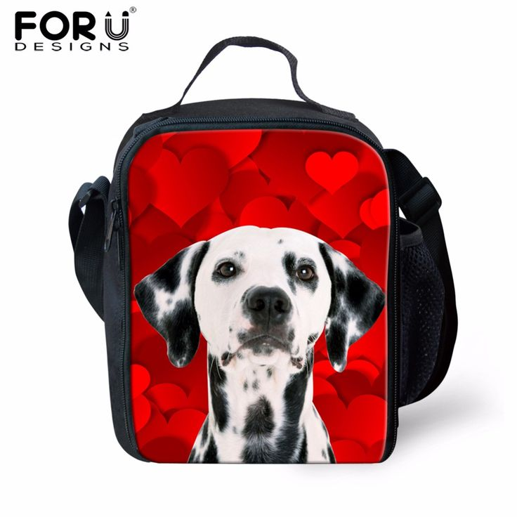 FORUDESIGNS 3D Spotty Dog Pattern Cooler Lunchbag Thermal Lunch Box For Student Casual Insulated Polyester Lunch Bag Lunch Boxes