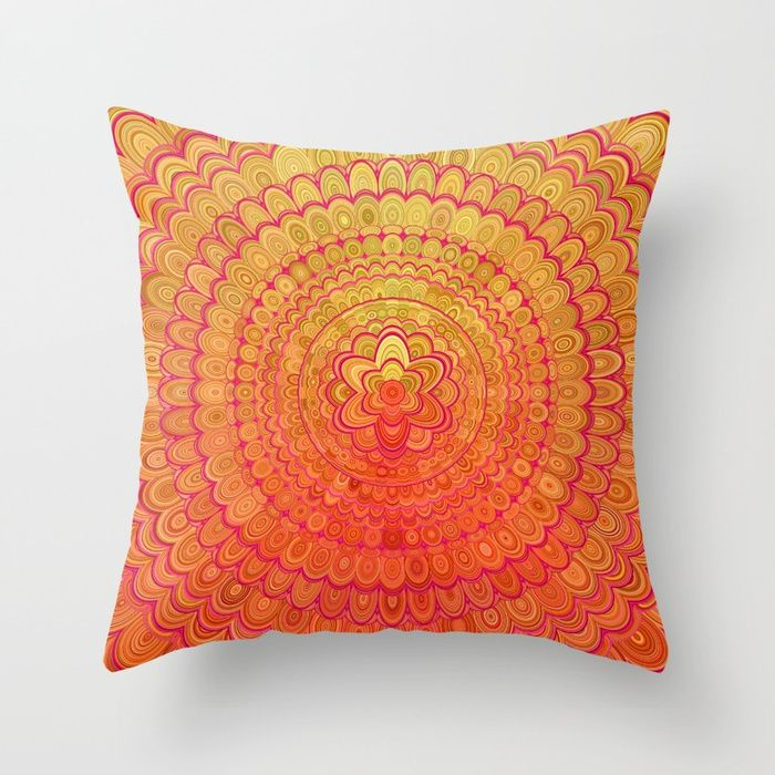Aztec Flower Mandala Throw Pillow