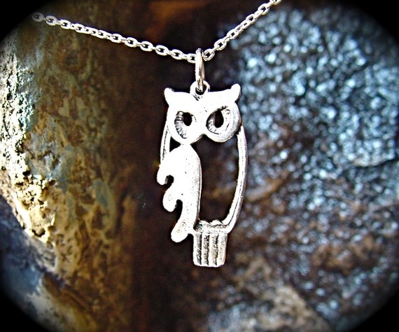 Owl necklace sterling silver by FlyingHeartStudios on Etsy, $29.95