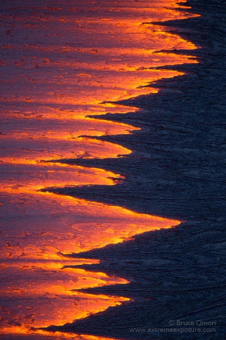 Trailing Edge - As a raging river of lava exits a tube, its rapidly cooling surface leaves a jagged trailing edge on its surface.