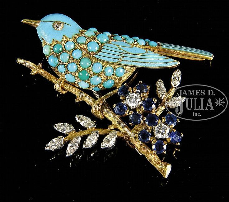 TIFFANY & COMPANY 18K DIAMOND, SAPPHIRE, TURQUOISE AND ENAMELED BROOCH.