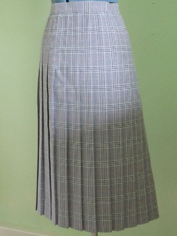Vintage Grey and White Knee Length Skirt Stay by FloralStreet