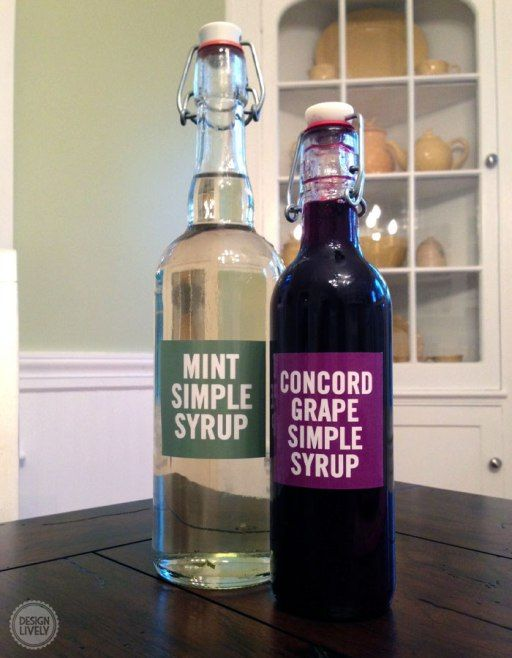 Recipe for Concord Grape Simple Syrup and Mint Simple Syrup from Design Lively