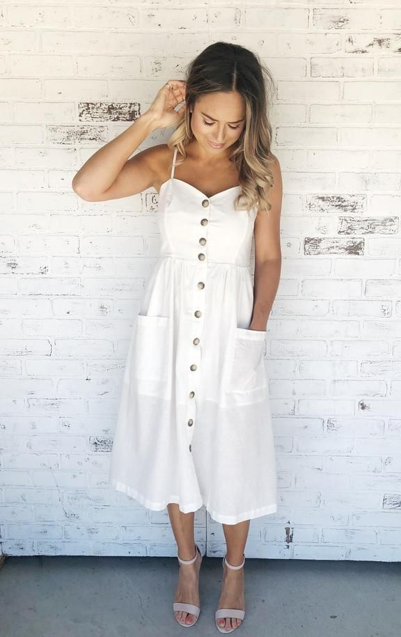 Taylor Ivory White Sleeveless Button Up Midi Dress With Pockets And Empire Waist White D Button Down Denim Dress White Dress Summer Casual Casual White Dress