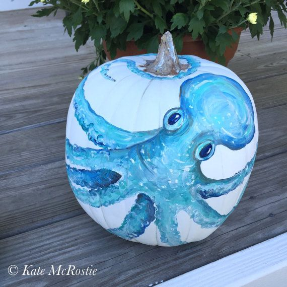 Coastal pumpkin |Coastal fall decor |hand painted pumpkin | pumpkin decor | coastal fall pumpkin | chinoiserie pumpkin| fall decor | @ etsy: katemcrostiehandmade