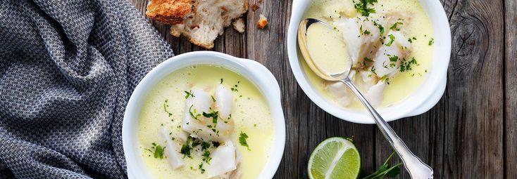 Fisksoppa med torsk, ingefära och lime
