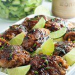This recipe for 4-Ingredient Honey Lime Chili Chicken Thighs makes an easy weeknight meal. Just combine lime, garlic, chili powder and honey to make this sweet, spicy and succulent glaze! Great when served with Pineapple Jicama Salad! |www.flavourandsavour.com
