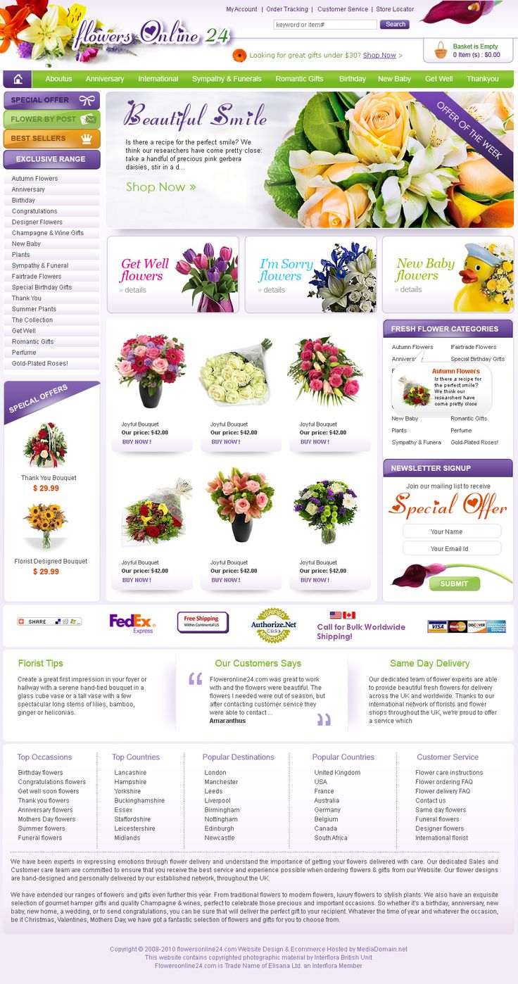 Website redesign and maintenance  for a Flower shop in Enfield, London using x-cart ecommerce system