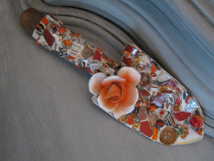 Mosaic Garden Trowel with Ceramic Flower in Orange Mosaic Art