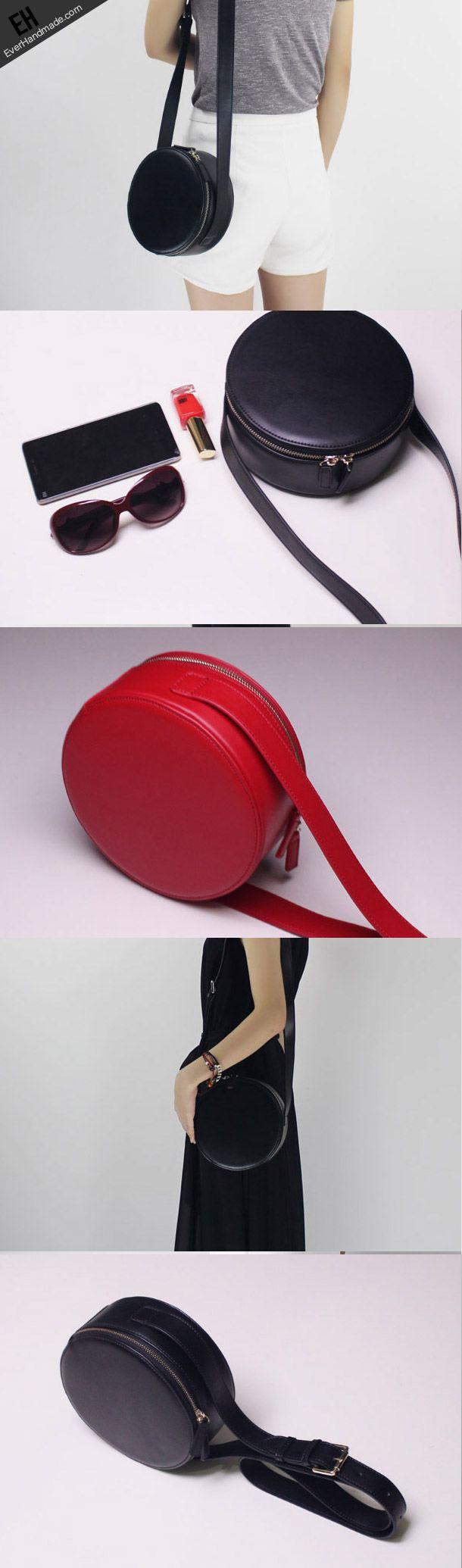 Genuine Leather round bag shoulder bag black for women leather crossbody bag