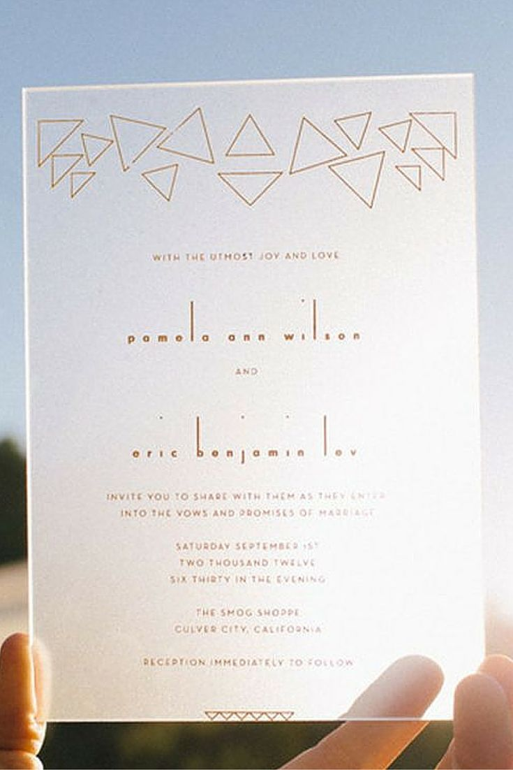 Plexiglass invitation quite possibly the coolest wedding