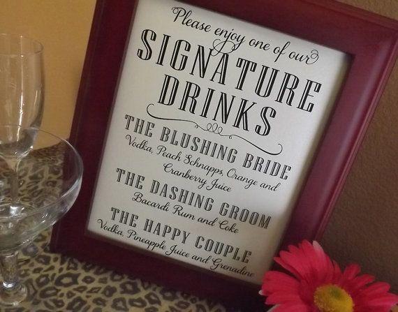 Signature Drink Sign Custom Wedding Bar Menu Cocktail by RecipeBox