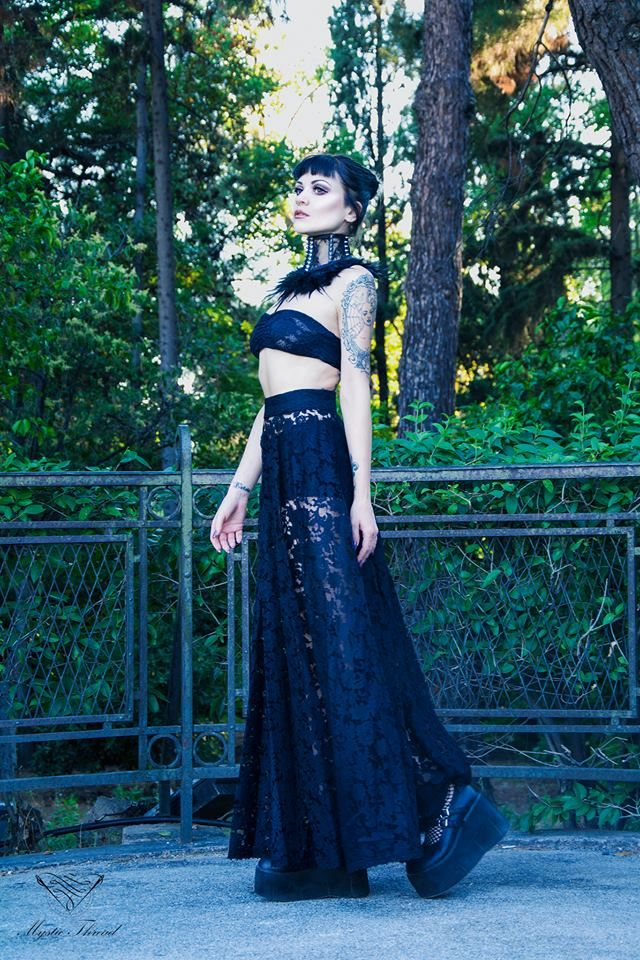 #Black #lace #feather #spike #punk #neck #corset & #Black #lace #transparent #gothic #victorian #high #waist #closs #maxi #skirt by  #MysticThread / e-shop: www.mysticthread.com / Model: #MaryDeLis