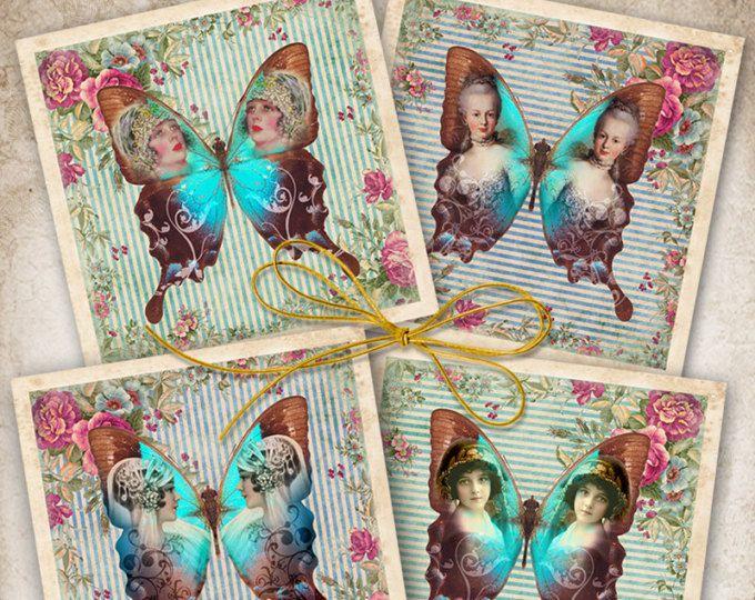 Afdrukbare downloaden LADY BUTTERFLY 3.8x3.8 inch beelden digitale Collage blad tags voor Coasters groeten kaarten magneten Gift vintage papier