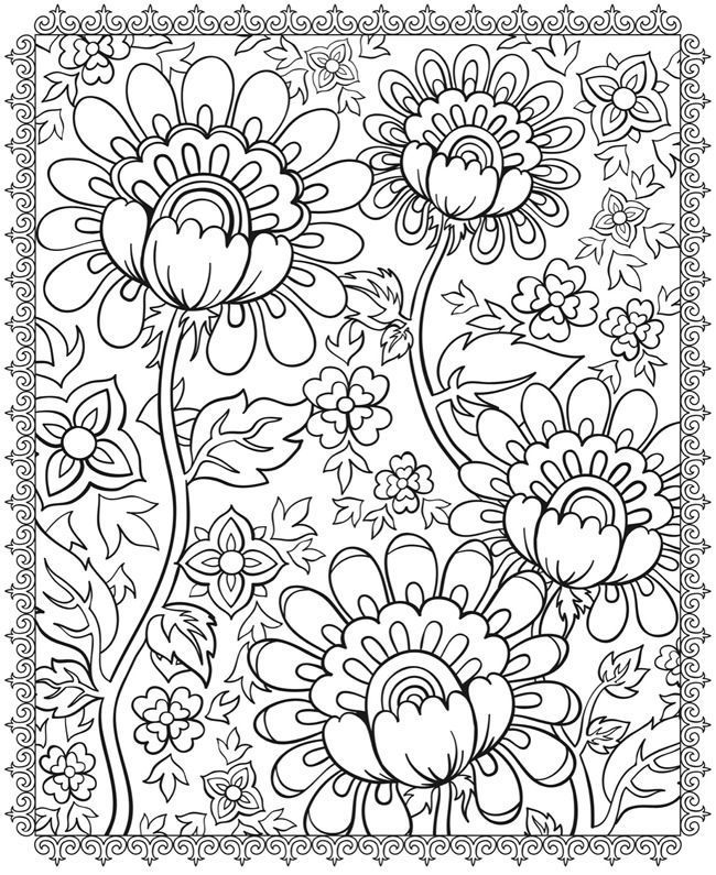 Coloring Pages Of Cool Flower Designs   Macetas   Pin...