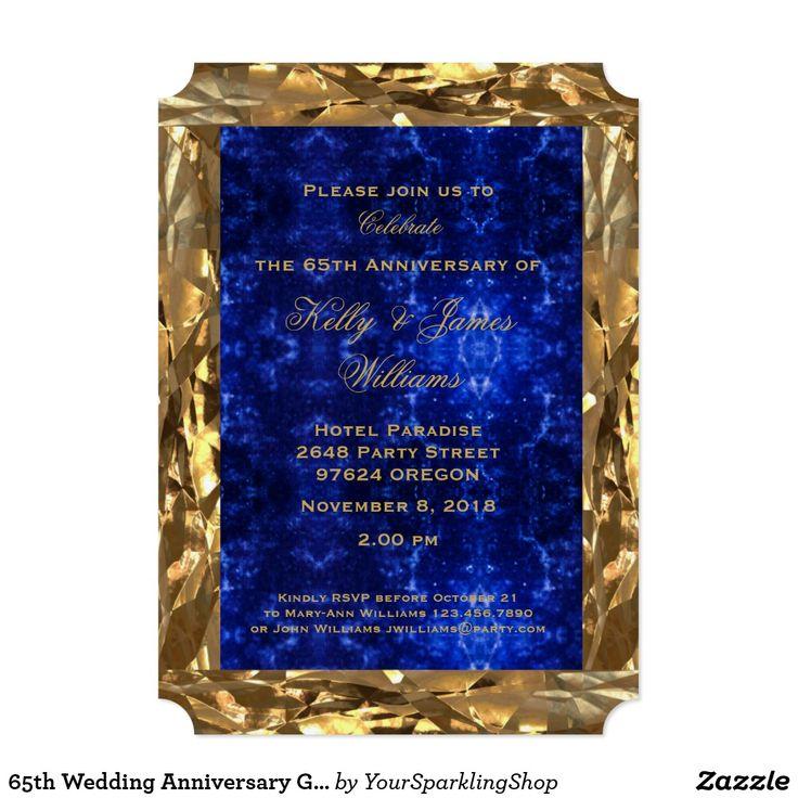 65th Wedding #Anniversary Gold Blue Sapphire Wedding Chic #Party #Invitation Card