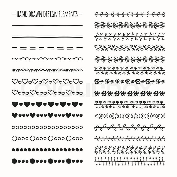 Hand drawn vector line border set and scribble design element. Illustration of doodles, vector
