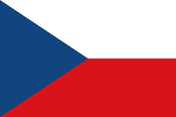 National flag of the Czech Republic from http://www.flagsinformation.com/czech_republic-country-flag.html   Two equal horizontal bands of white (top) and red with a blue isosceles triangle based on the hoist side. Note: identical to the flag of the former Czechoslovakia.