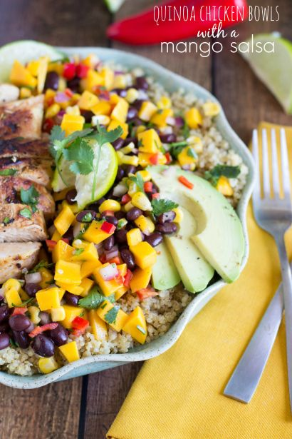 Quinoa Chicken Bowls with a Mango Salsa | Chelsea's Messy Apron. (Not sure about the sprite in the chicken marinade but another marinade would work fine I think. Or maybe orange juice instead)