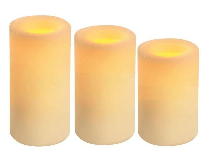 LED Pillar Flameless Candles with Timer Vanilla 3 pc. set #Inglow