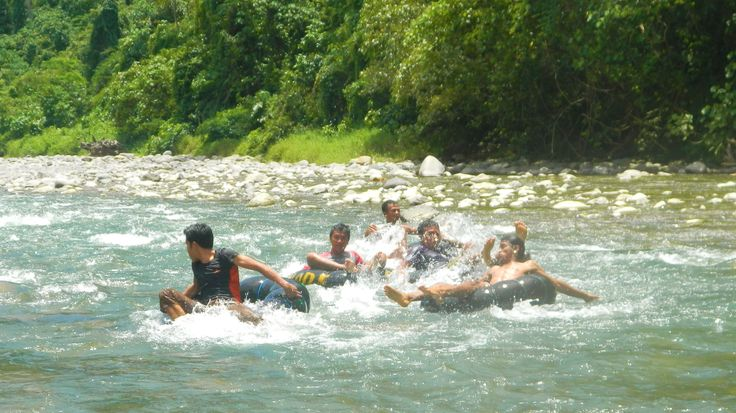 The race is on! - River Tubing races Bukit Lawang