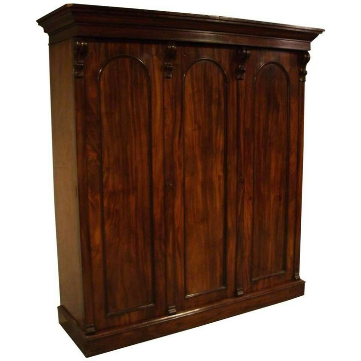 Lovely Beautiful Victorian mahogany three door wardrobe Format adaptable to hang clothes or lay on shelves Also two large drawers The cabinet is built up
