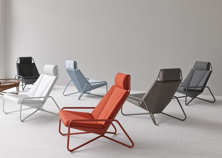 VIK lounge chair by Arian Brekveld for Spectrum  Brekveld's VIK lounge chair for Dutch design company Spectrum consists of a low seat surrounded by a metal pipe frame.