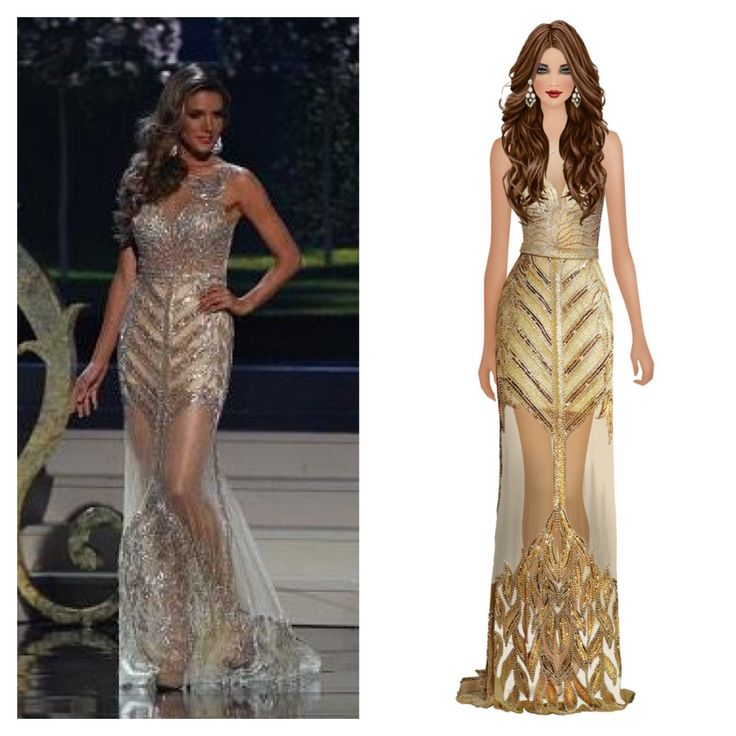 Miss Argentina 2015, Valentina Ferrer, in a beautiful gold #Jovani gown! This gown is available for styling in-game at #CovetFashion.