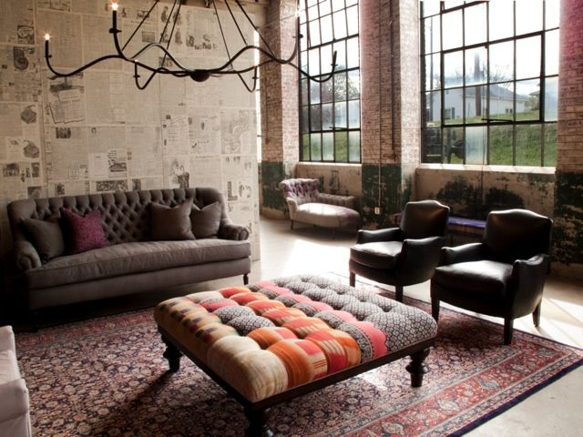 I love this Loft ! The Davenport Tufted Ottoman by Cisco Brothers Furniture is great!