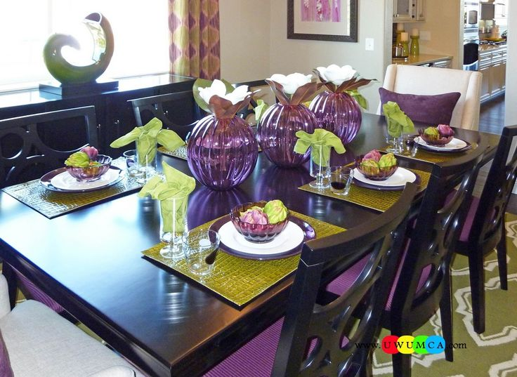 Dining Room:Amazing Purple Dining Room With Purple Cutlery Set And Decorating Purple Dining Room Purple Color Dining Space Walls Paint Ideas Table And Chairs Furniture Set Design Dining Area Seat Cushions & Covers With Curtains Color Feast: When to Use Purple in the Dining Room Decorating Ideas