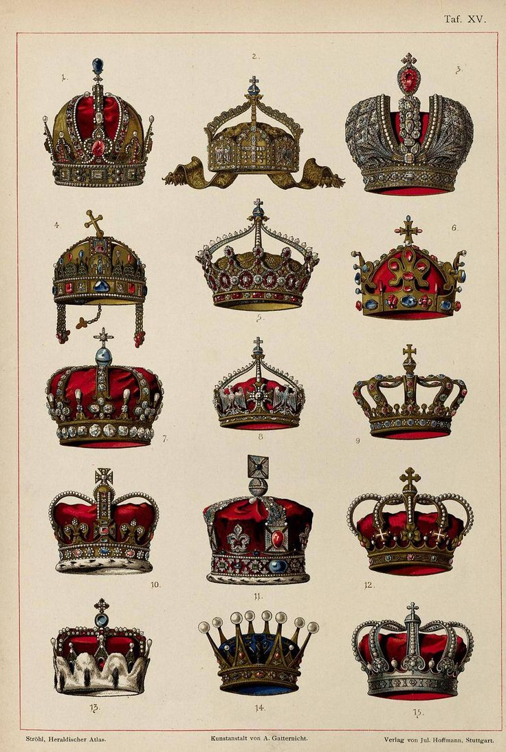 The varying Imperial crowns in numerical order: 1. Austrian Empire 2. German Empire (State Crown) 3. Russian Empire 4. Kingdom of Hungary 5. German Empire (Empress) 6. Kingdom of Bohemia 7. Kingdom of Prussia 8. German Empire (Kaiser) 9. Kingdom of Bavaria 10. United Kingdom (King St. Edward) 11. United Kingdom (Queen Victoria) 12. Kingdom of Italy  13. Archduchy of Austria 14. Kingdom of Sweden 15. Kingdom of Romania
