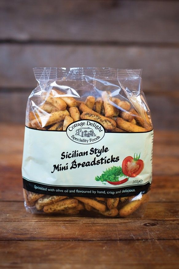 Sicilian Style Mini Breadsticks  Crisp and delicious these mini breadsticks are sprinkled with olive oil and flavoured by hand.